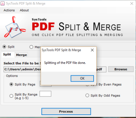 Process to divide PDF files